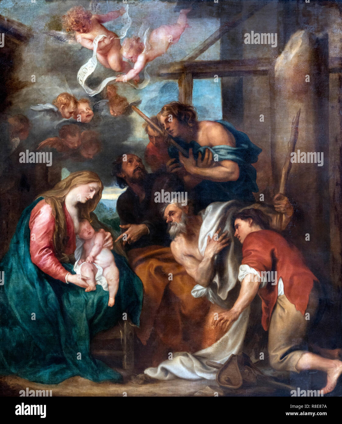 The Adoration of the Shepherds by Sir Anthony van Dyck (1599-1641), oil on canvas, c.1632 - Stock Image