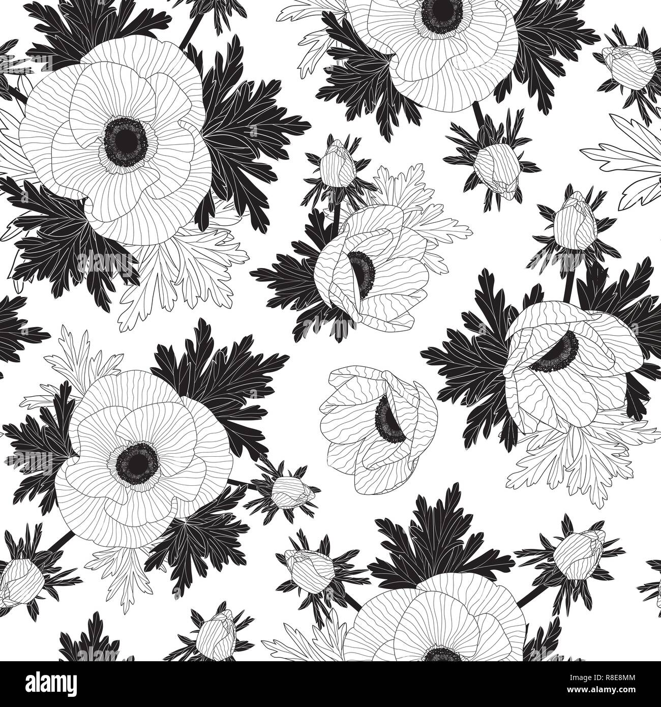Floral seamless vector pattern with beautiful anemone flowers. - Stock Vector