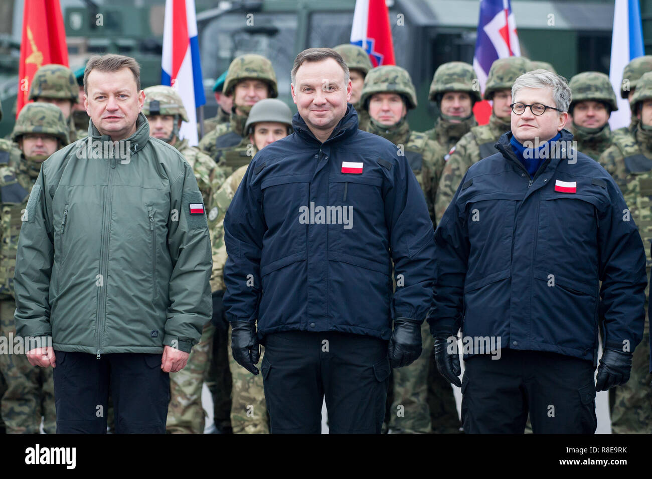 Mariusz Blaszczak, Minister of Defence, and Andrzej Duda, President of Poland, during his visit in Multinational Division North East MND-NE Headquarte - Stock Image