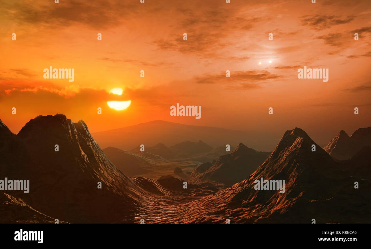 Illustration of the view from the innermost of the two exoplanets orbiting Gliese 667 C (largest star, a red dwarf) in the Gliese 667 system. The Gliese 667 A/B binary star system is to the right of Gliese 667 C. There are at least two planets in this multiple star system, called Gliese 667 Cb and Gliese 667 Cc, which lies around 24 light years from Earth, in the constellation Scorpius. Six planets in total have been proposed but four are contested as of 2018. - Stock Image