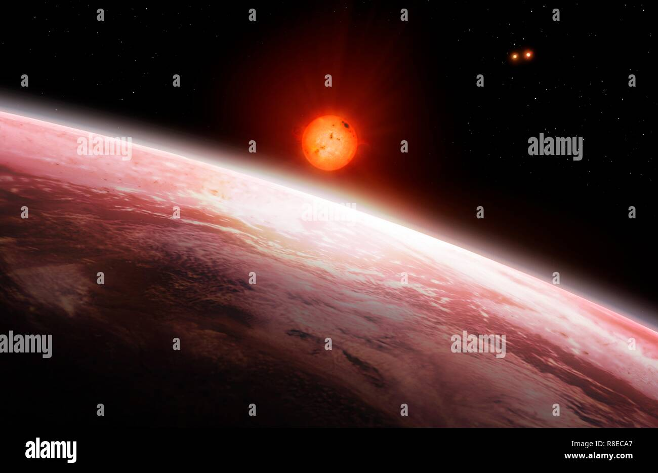 Illustration of the view from the innermost of the two exoplanets orbiting Gliese 667 C (largest star, a red dwarf) in the Gliese 667 system. The Gliese 667 A/B binary star system is to the upper left of Gliese 667 C. There are at least two planets in this multiple star system, called Gliese 667 Cb and Gliese 667 Cc, which lies around 24 light years from Earth, in the constellation Scorpius. Six planets in total have been proposed but four are contested as of 2018. - Stock Image