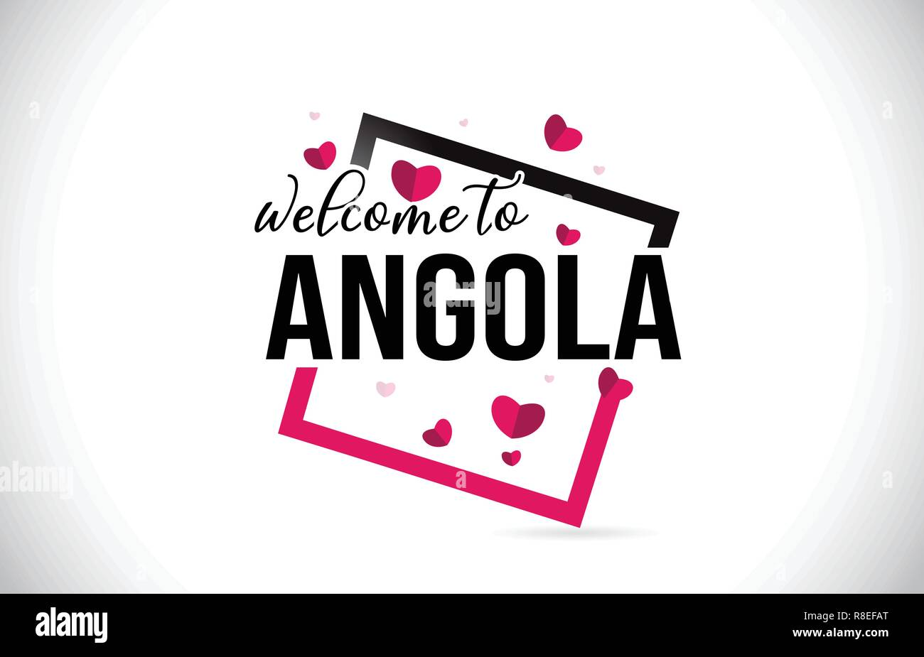 Angola Welcome To Word Text with Handwritten Font and  Red Hearts Square Design Illustration Vector. - Stock Vector