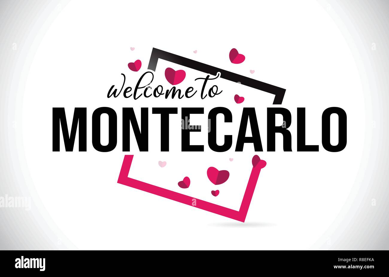 MonteCarlo Welcome To Word Text with Handwritten Font and  Red Hearts Square Design Illustration Vector. - Stock Vector