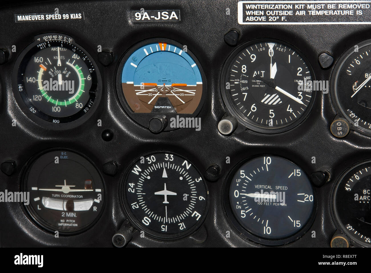 Zagreb, Croatia - February 25, 2012: Instruments in the airplane - Stock Image