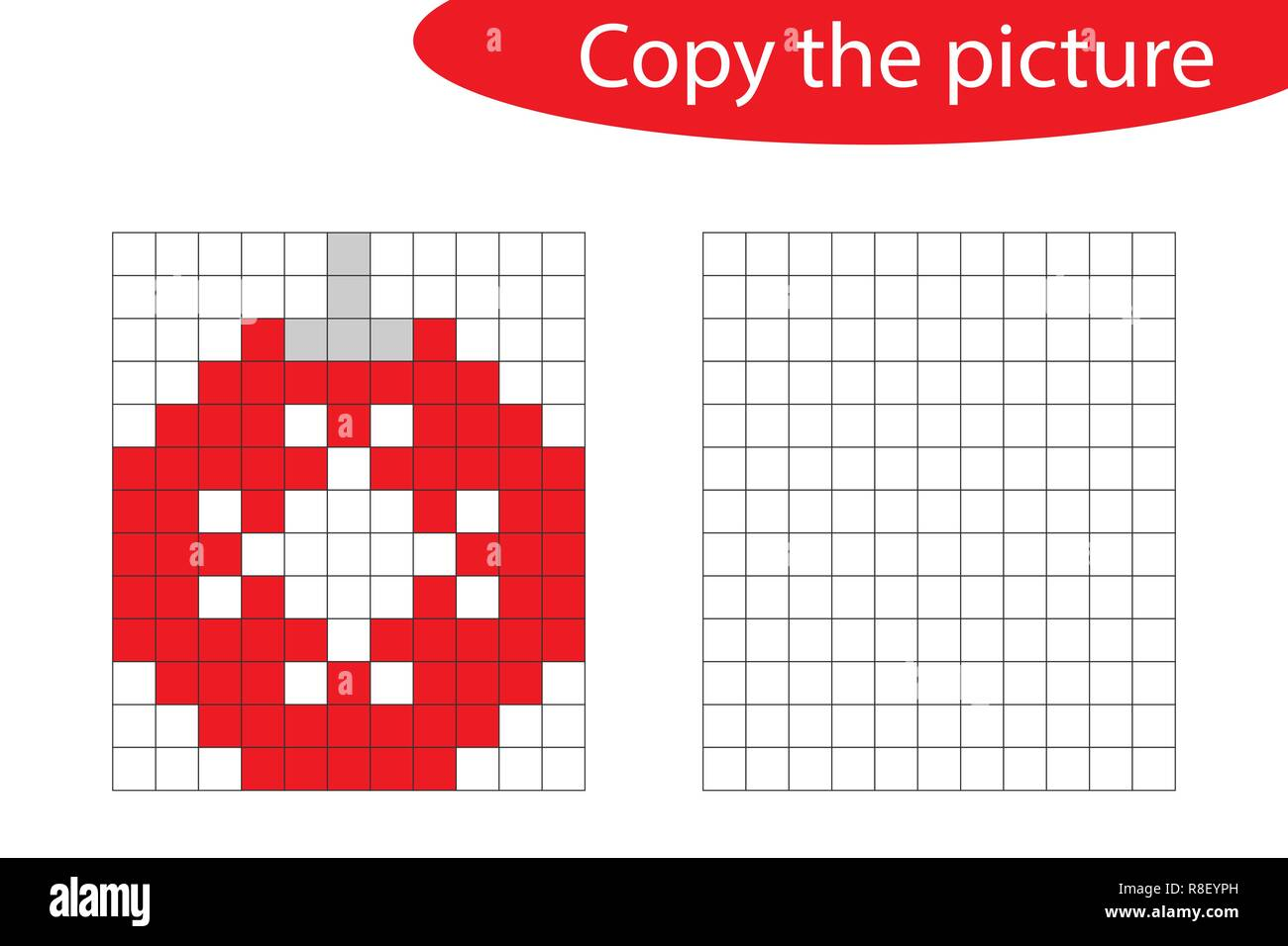 Copy The Picture Pixel Art Christmas Ball Cartoon Drawing