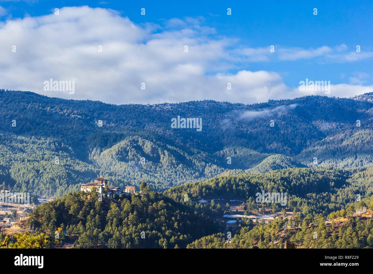 Bumthang Dzong monastery in the Kingdom of Bhutan. - Stock Image