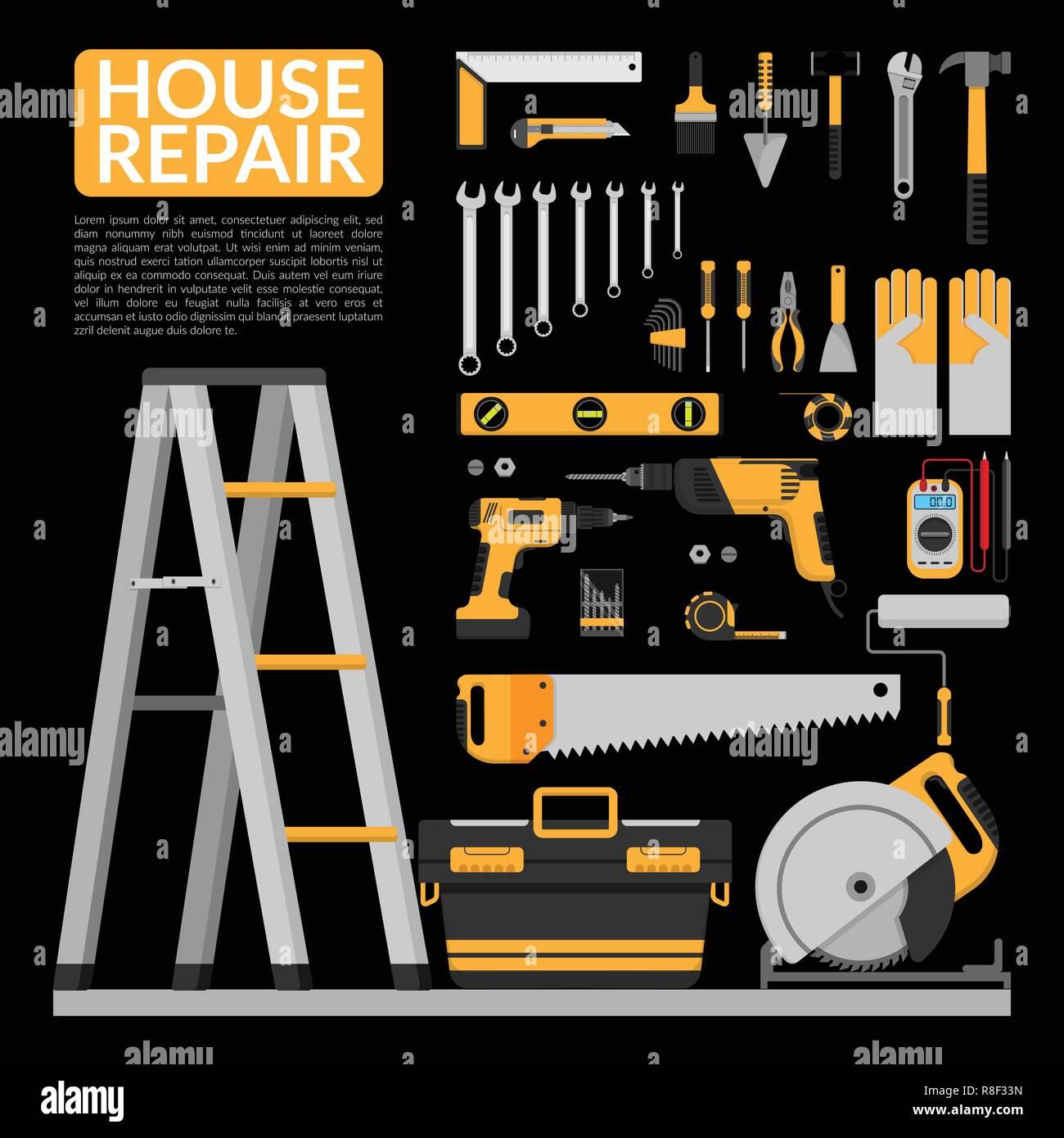 Set Of DIY Home Repair Working Tools Vector Logo Design