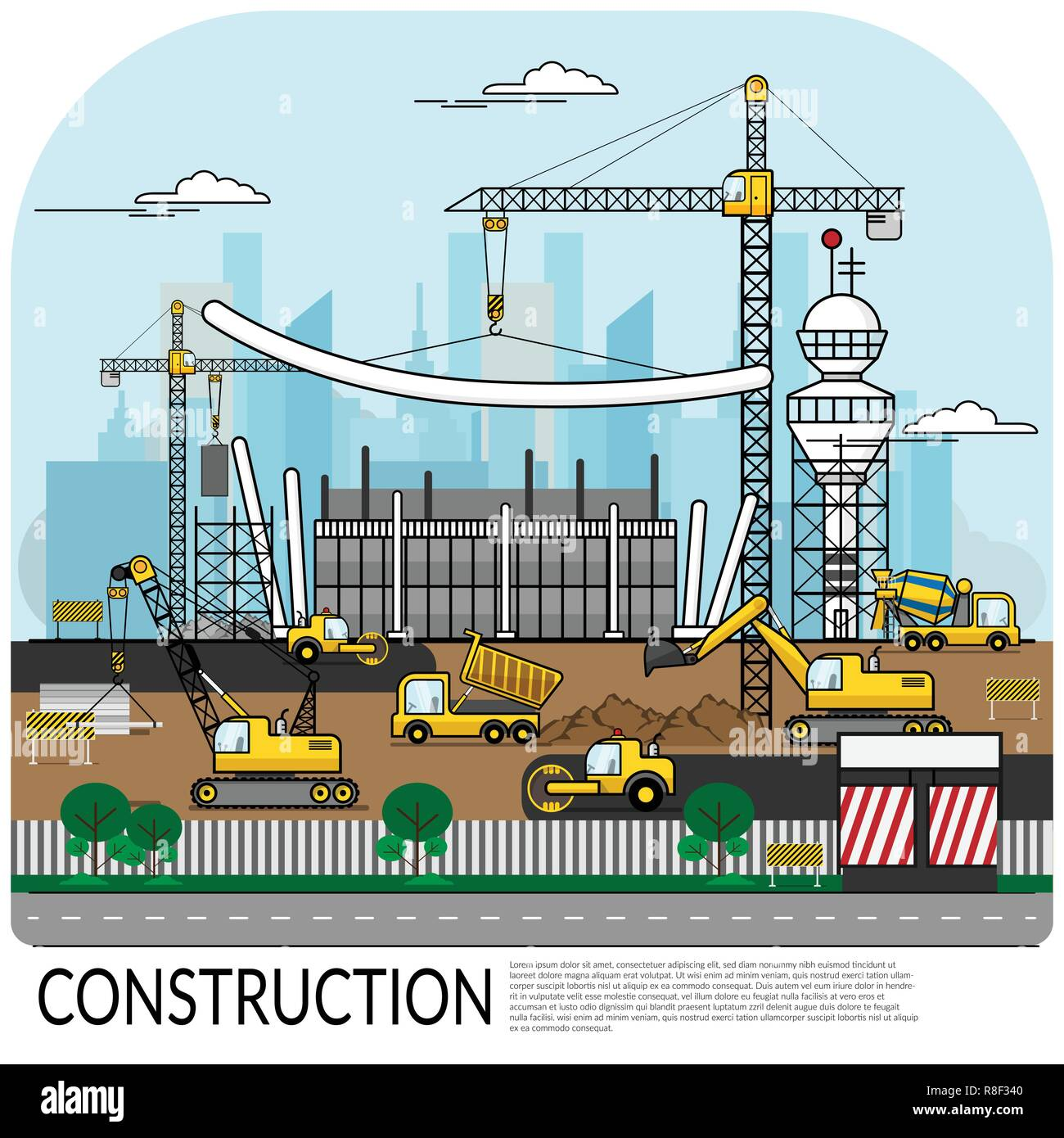 vector of busy construction site with workers , truck , crane and heavy equipment working on building structure with city view at background. construc - Stock Vector
