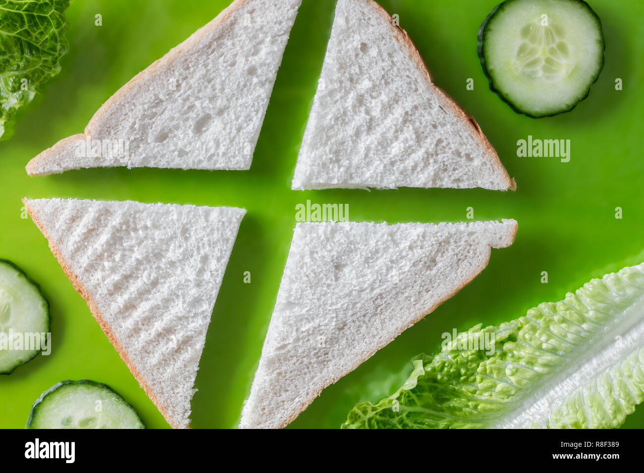 Flat lay of a deconstructed Cucumber sandwich - Stock Image