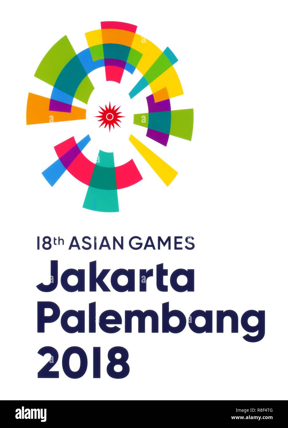 Kiev, Ukraine - October 09, 2018: The 18th Asian Games emblem printed on paper, Jakarta–Palembang 2018, was a pan-Asian multi-sport event. - Stock Image