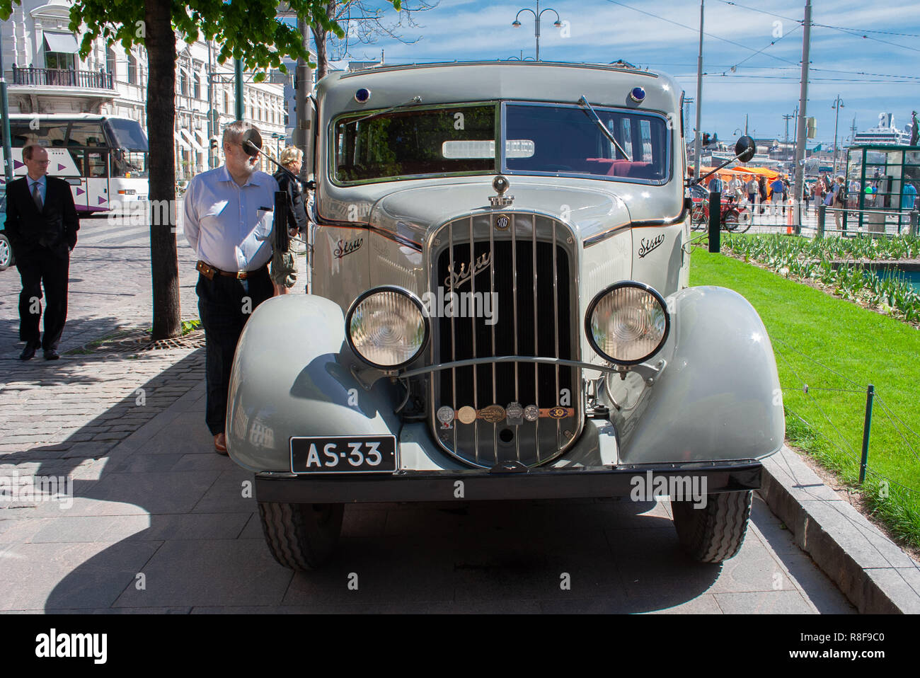 """Historical vehicle, Sisu 322 bus from the year 1933 restored to its appearance while serving the Helsinki Jazz band """"Dallape"""". Stock Photo"""