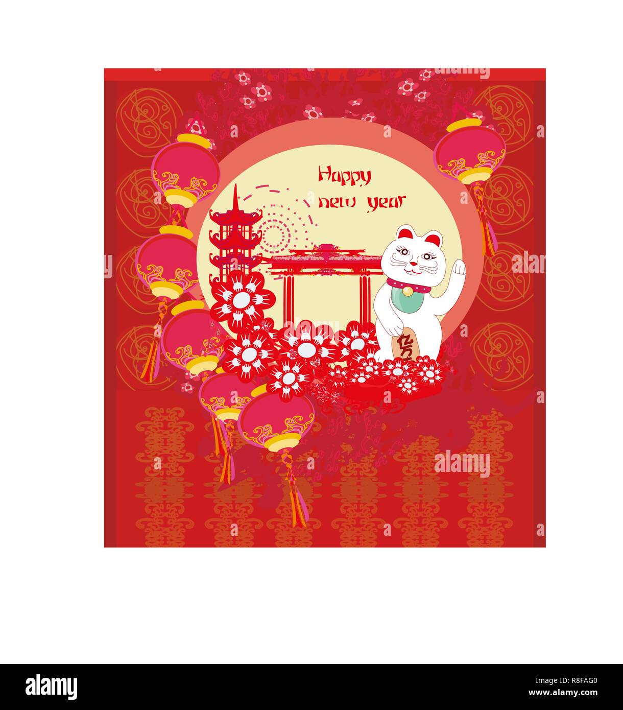 mid autumn festival for chinese new year card with maneki neko cat wishing good