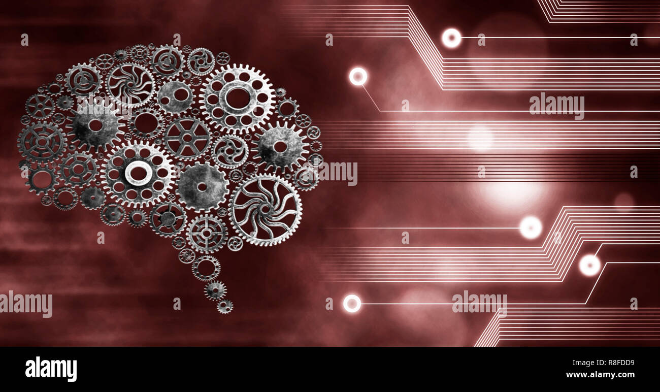 Brain build out of cogs Innovation with ideas and concepts,Training,business background - Stock Image