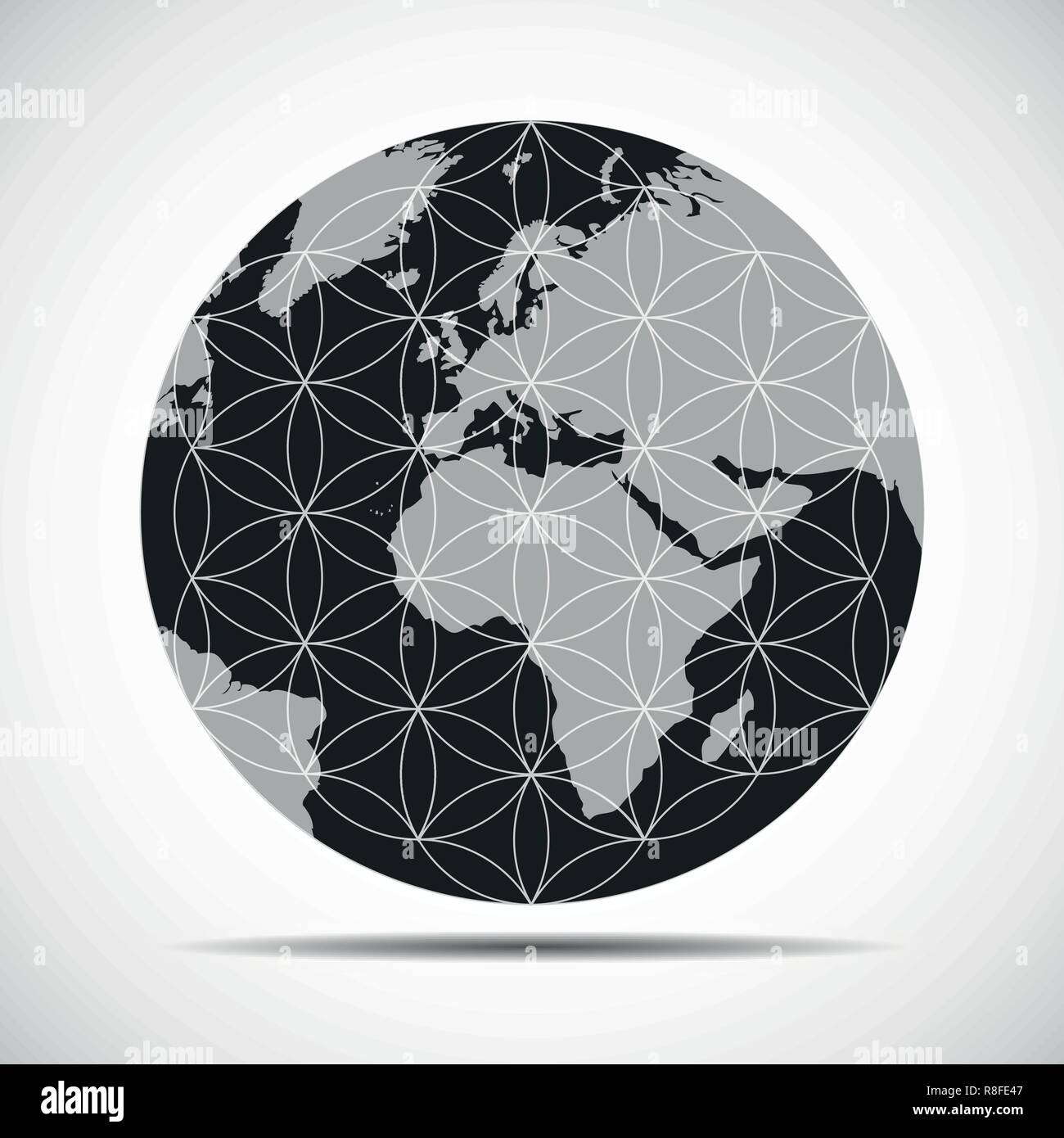 flower of life in the globe earht world vector illustration EPS10 - Stock Image