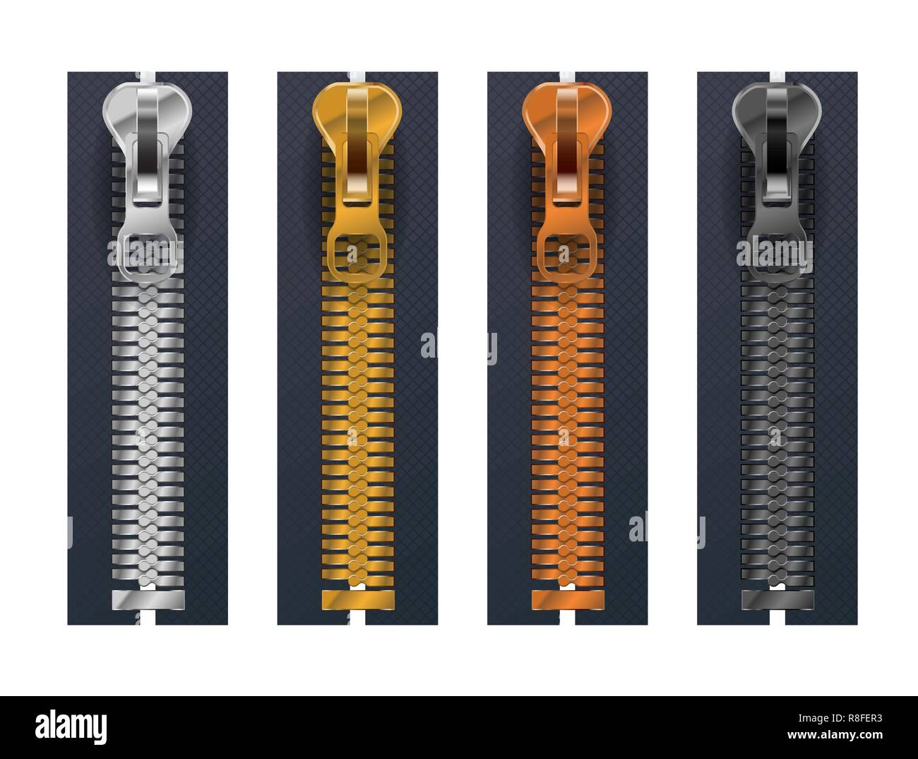 Set of different metallic fasteners, closed zippers isolated on white - Stock Image