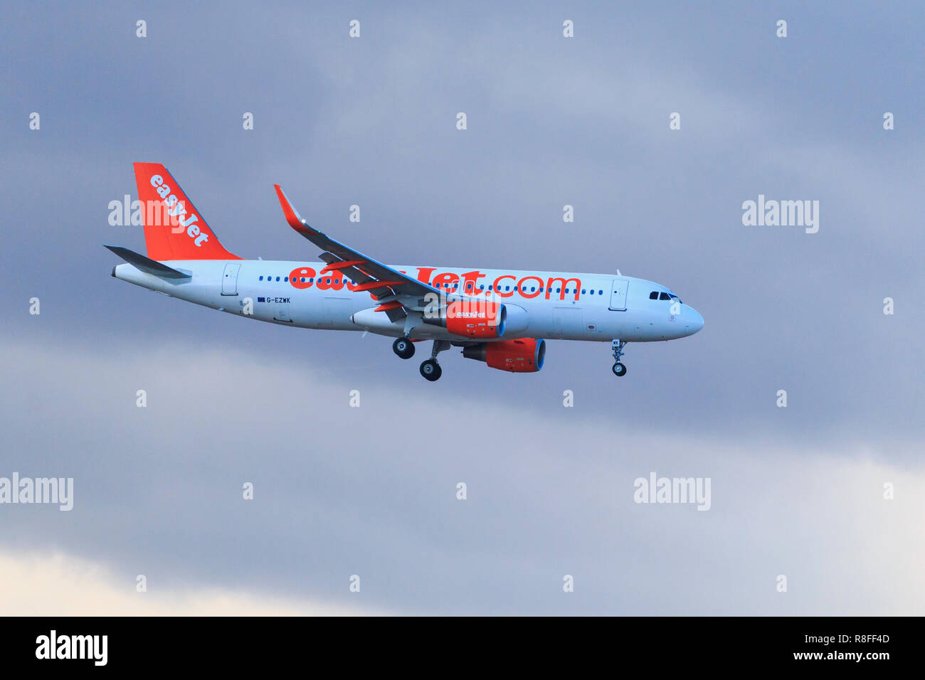 Airplane Airbus A320-214 easyJet landing in Tenerife aiport - Stock Image