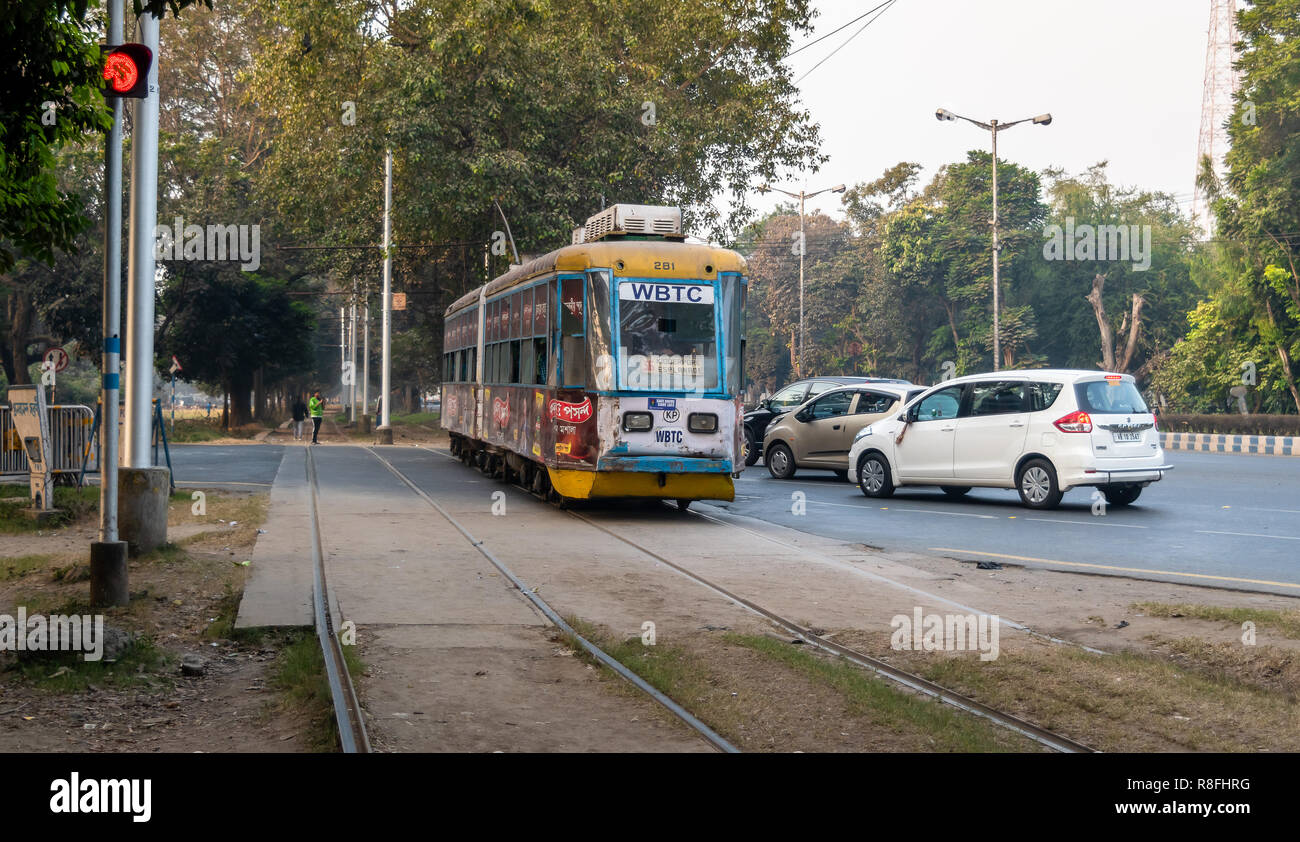 December13,2018.Kolkata,India.Trams in Kolkata is a tram system in the city of Kolkata,West Bengal,India,operated by the Calcutta Tramways Company. Stock Photo
