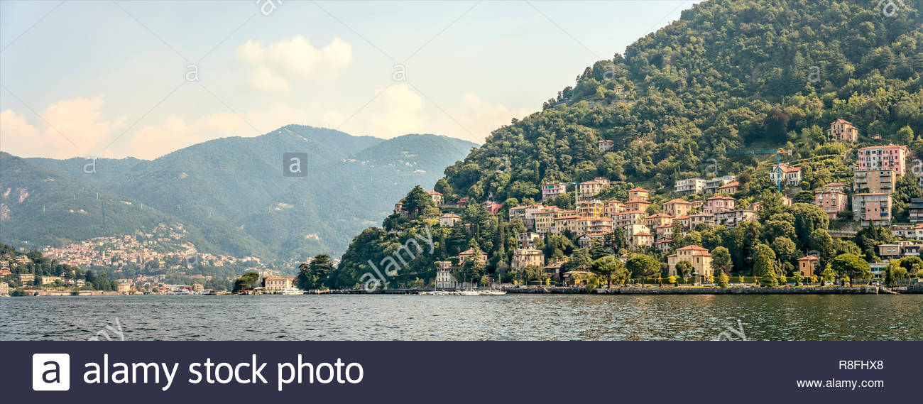 Panorama view across Lake Como from Como, Italy | Panorama-Aussicht ueber den Comer See Stock Photo