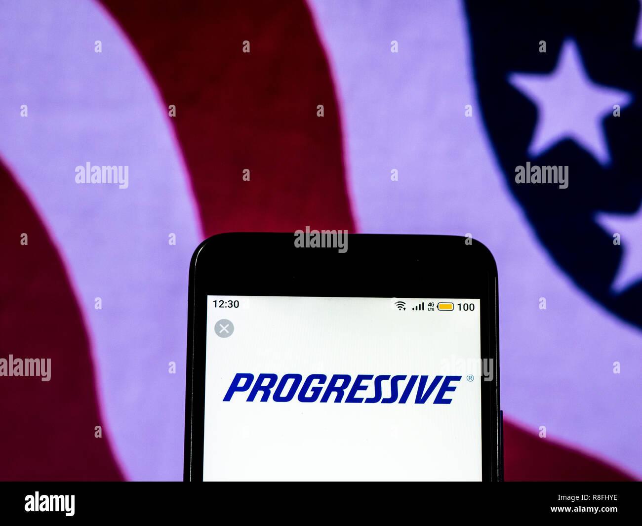 Progressive Corporation Car Insurance Company Logo Seen Displayed On