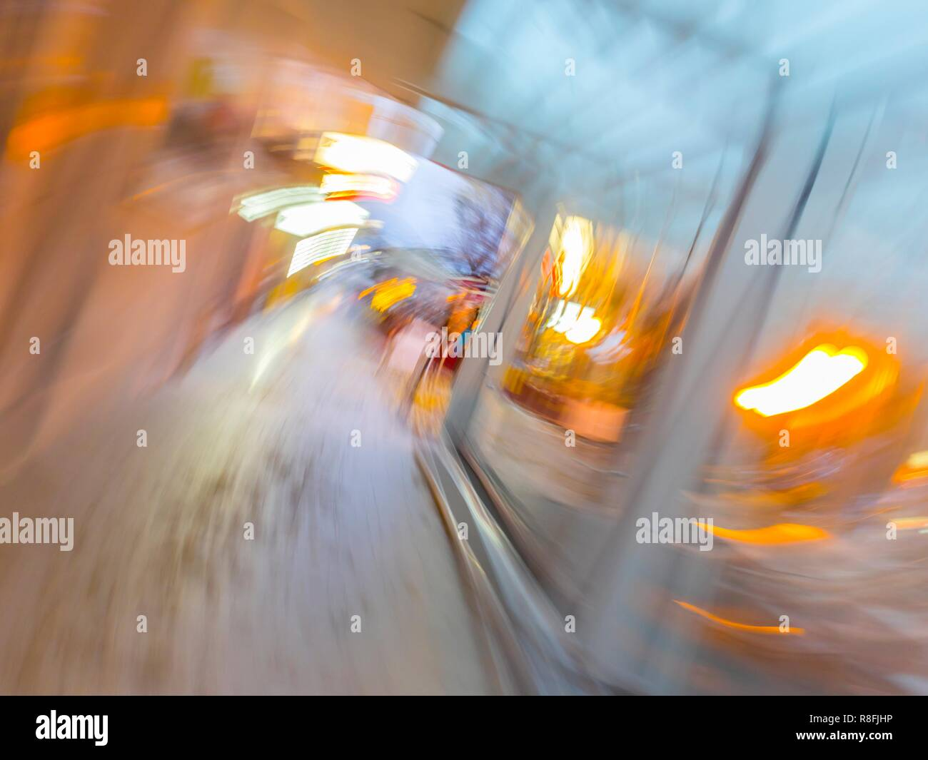 Circular blur motion city lights - Stock Image