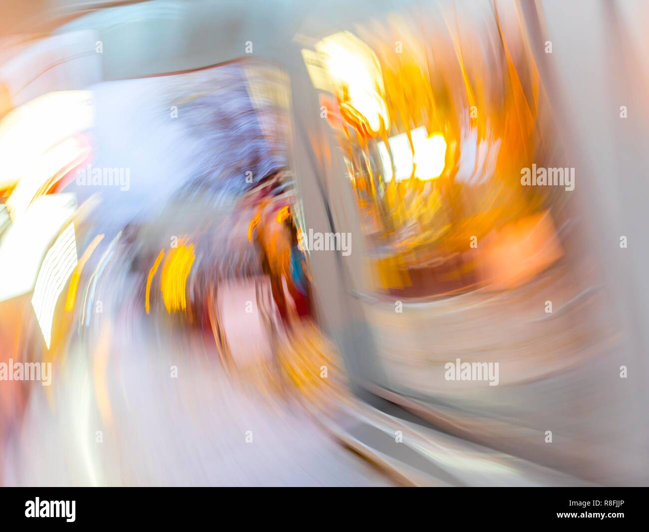 Circular blur motion city lights - Stock Image
