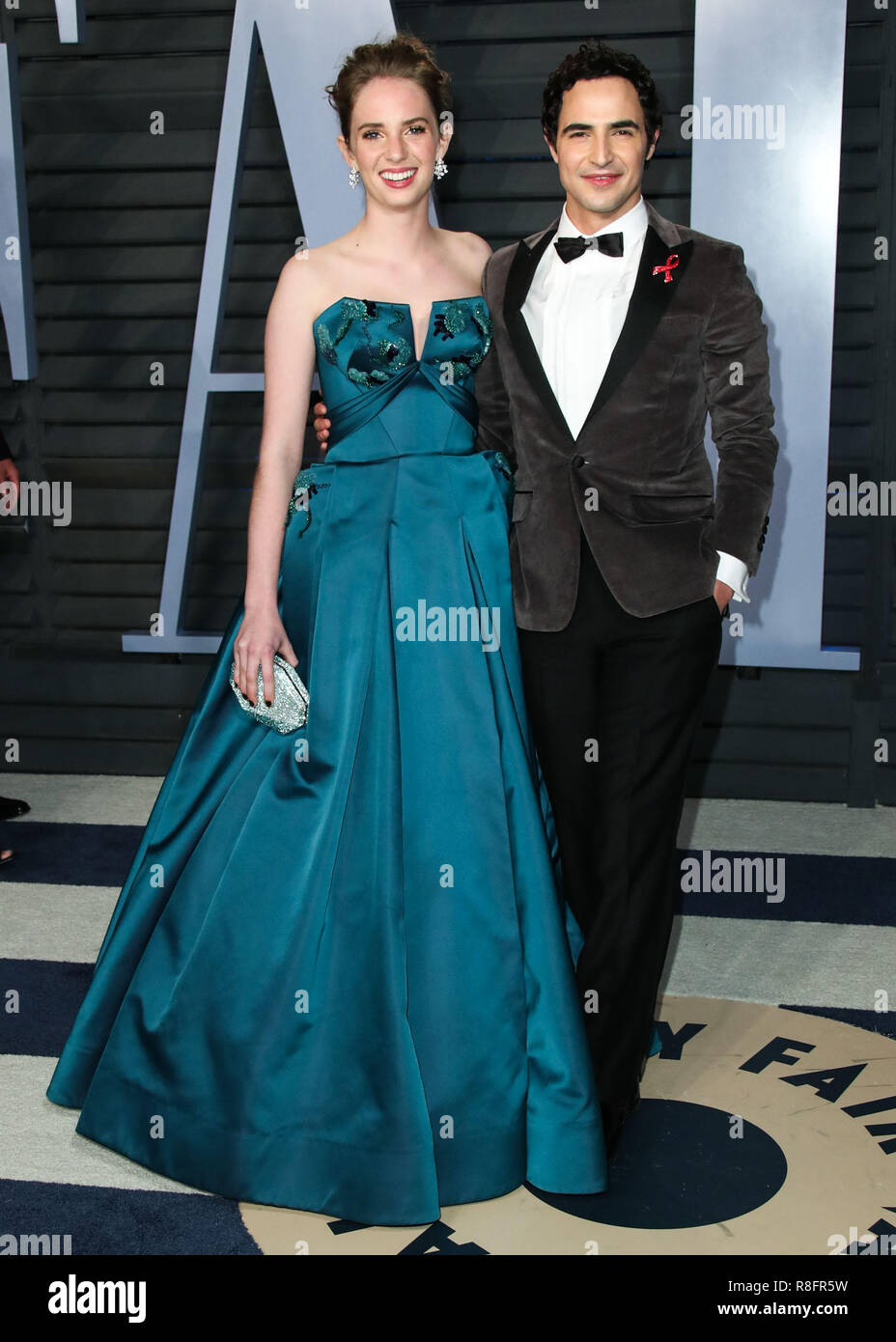 BEVERLY HILLS, LOS ANGELES, CA, USA - MARCH 04: Maya Hawke, Zac Posen at the 2018 Vanity Fair Oscar Party held at the Wallis Annenberg Center for the Performing Arts on March 4, 2018 in Beverly Hills, Los Angeles, California, United States. (Photo by Xavier Collin/Image Press Agency) Stock Photo