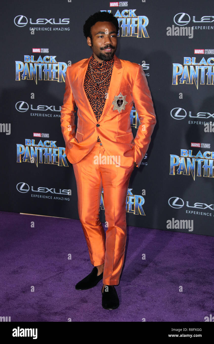 HOLLYWOOD, LOS ANGELES, CA, USA - JANUARY 29: Donald Glover at the World Premiere Of Disney And Marvel's 'Black Panther' held at the Dolby Theatre on January 29, 2018 in Hollywood, Los Angeles, California, United States. (Photo by Xavier Collin/Image Press Agency) - Stock Image