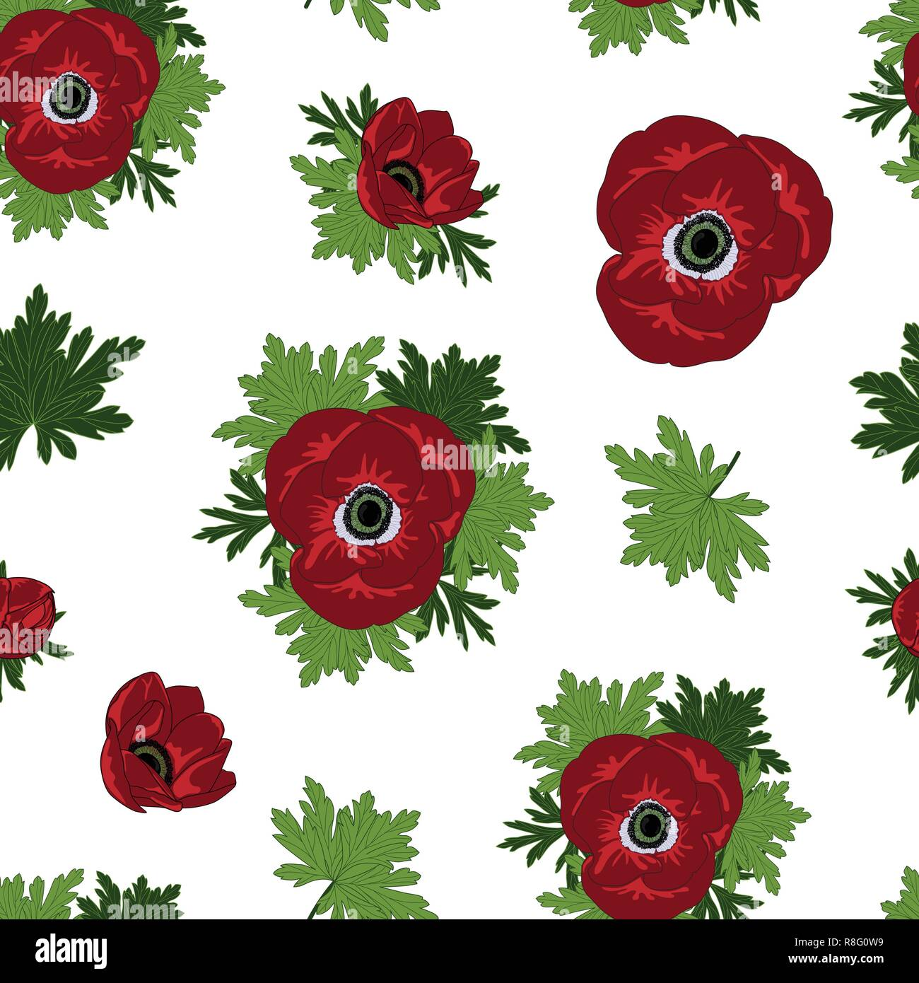 Floral seamless vector pattern with beautiful red anemone flowers. - Stock Vector