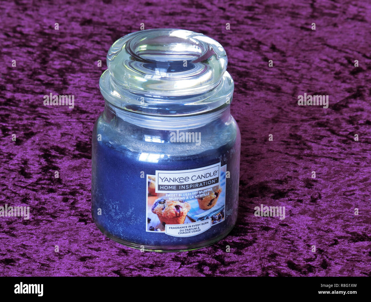 Yankee Candle Home Inspiration Fragranced, Scented or Perfumed Sweet Blueberry Muffins Candle - Stock Image