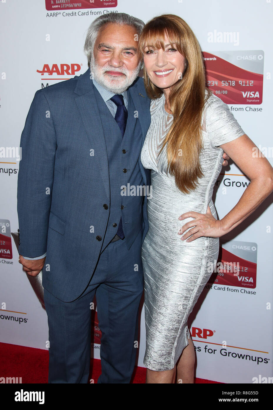BEVERLY HILLS, LOS ANGELES, CA, USA - FEBRUARY 05: David Green, Jane Seymour at AARP's 17th Annual Movies For Grownups Awards held at The Beverly Wilshire Beverly Hills (A Four Seasons Hotel) on February 5, 2018 in Beverly Hills, Los Angeles, California, United States. (Photo by Xavier Collin/Image Press Agency) - Stock Image