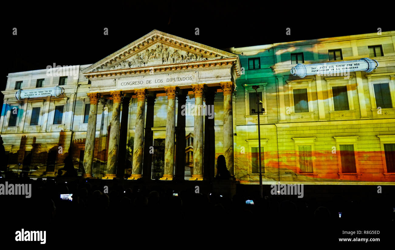 Light show on The Deputies congress facade on the occasion of the 40th anniversary of Spanish Constitution, Madrid, Spain - Stock Image