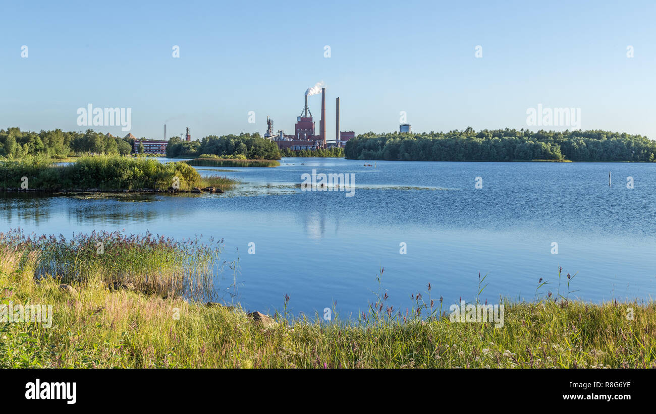 Industrial plant near the center of Oulu Finland - Stock Image