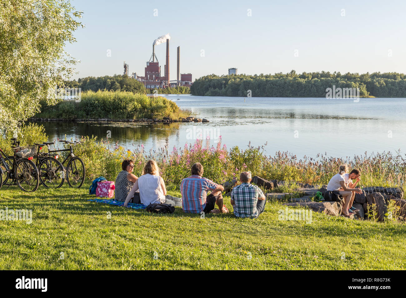 OULU, FINLAND - JULY 21, 2016: View on the Industrial plant near the center of Oulu Finland - Stock Image