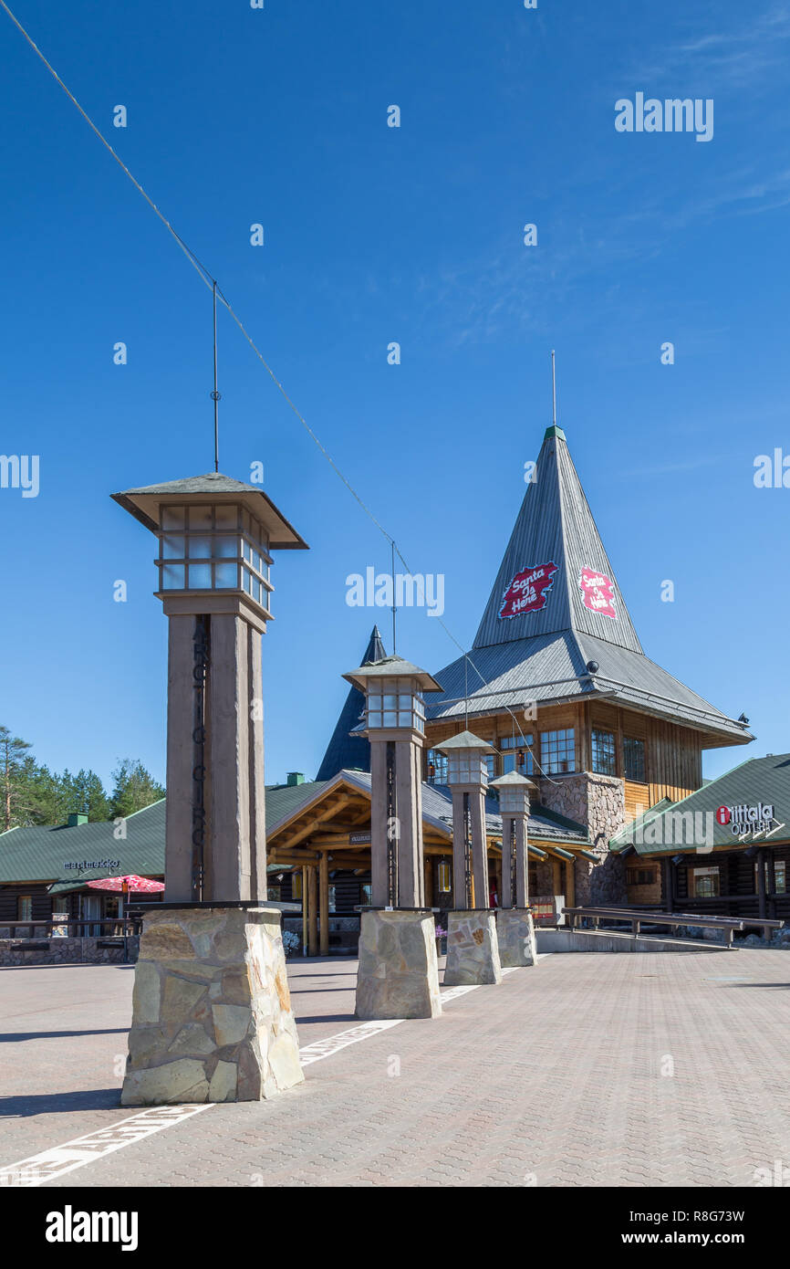 ROVANIEMI, FINLAND - JULY 22, 2016: Santa Claus holiday village and artic circle line in Rovaniemi. Finland - Stock Image