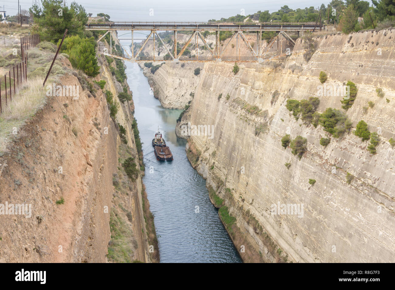 Boat crossing the Corinth channel in Peloponnese Greece Stock Photo