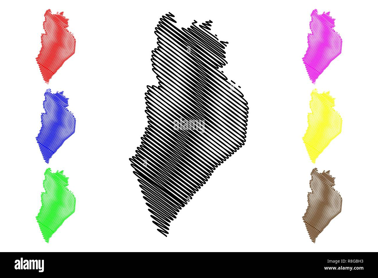 Perlis (States and federal territories of Malaysia, Federation of Malaysia) map vector illustration, scribble sketch Perlis Indera Kayangan map - Stock Image
