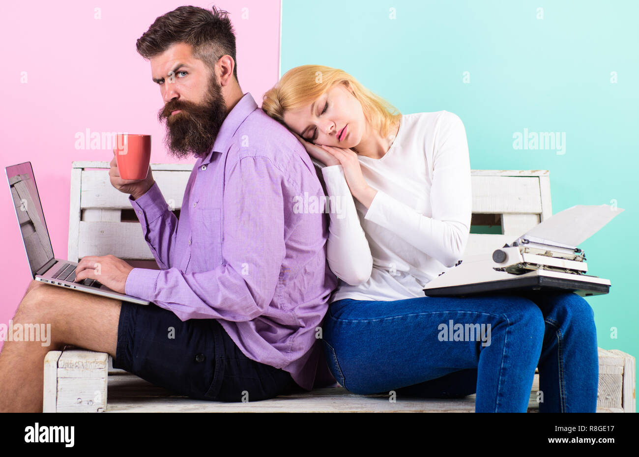 Technological progress benefits. Increase your productivity using modern technology. Technical progress. Woman sleep retro typewriter and man modern laptop. Take advantage technology development. - Stock Image