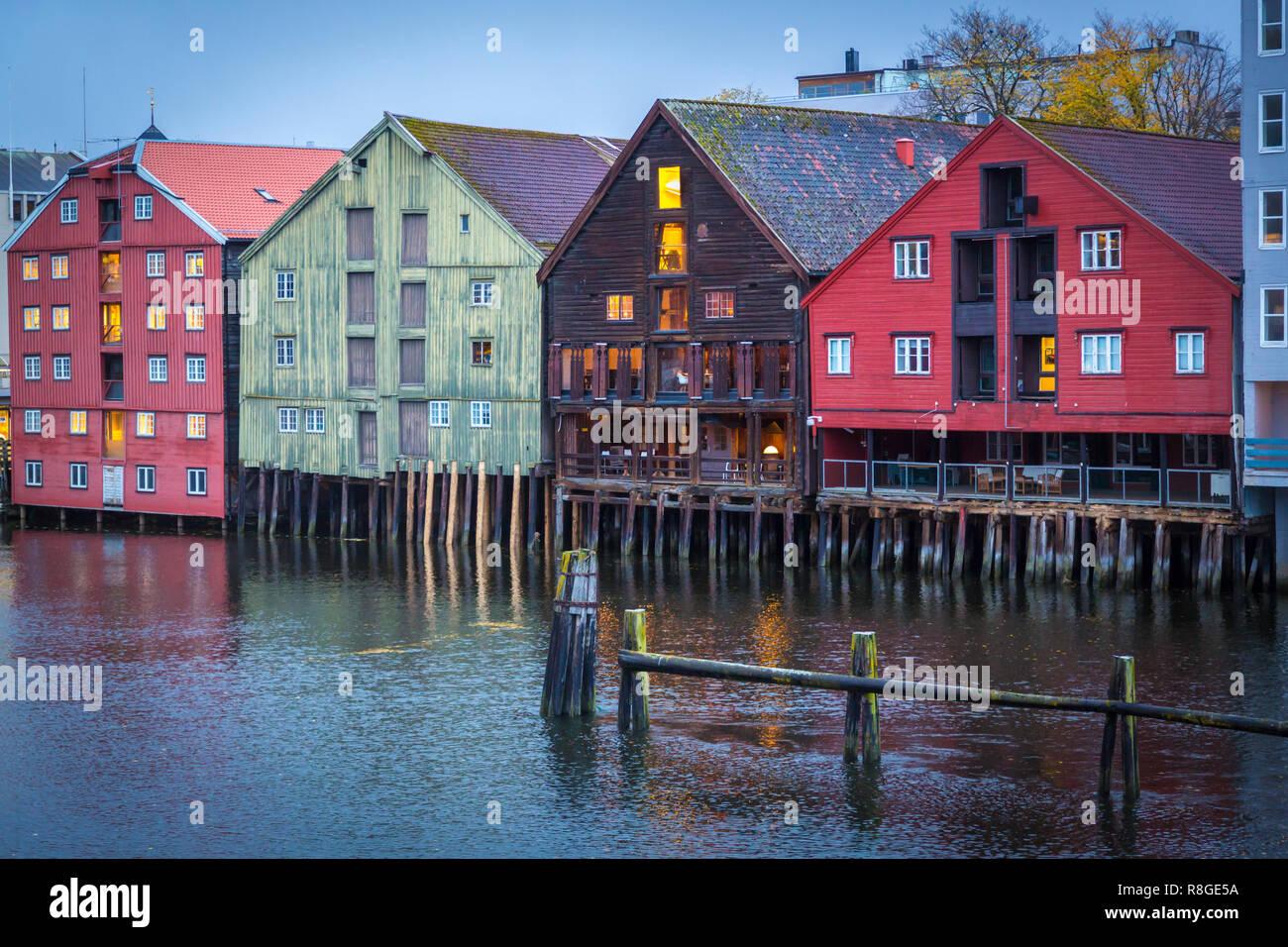 Speicherstadt Trondheim in Nordwegen - Stock Image