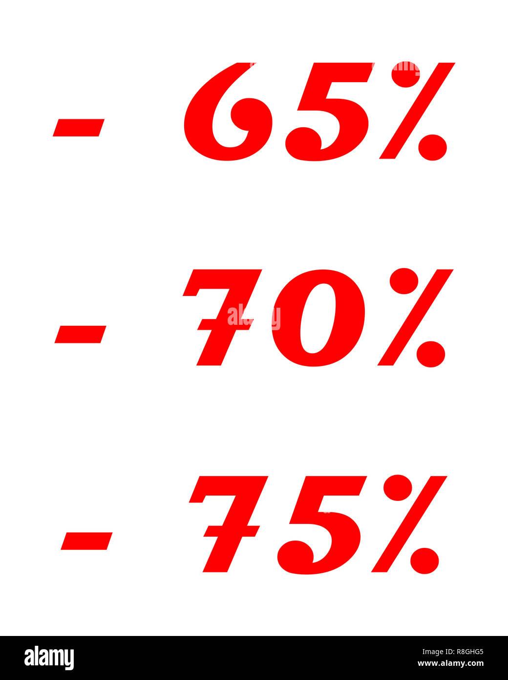 -65% -70% -75% sale discount illustration - Stock Image