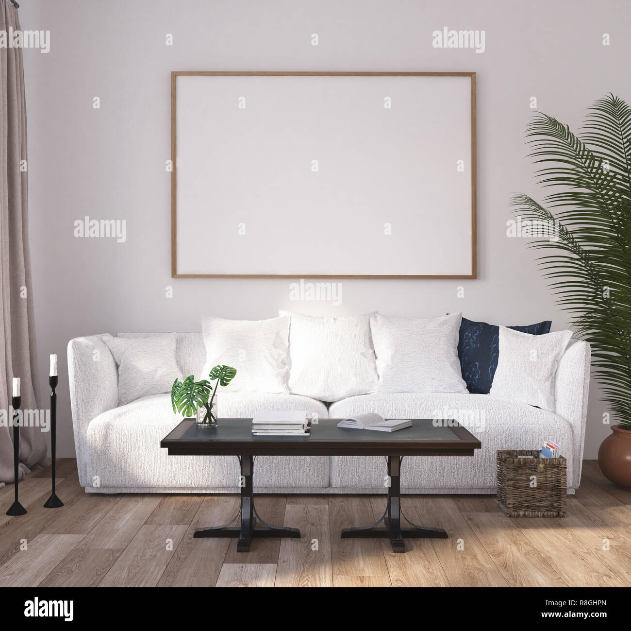 Mock Up Poster Frame In Home Interior Background Modern Style Living Room 3d Render Stock Photo Alamy