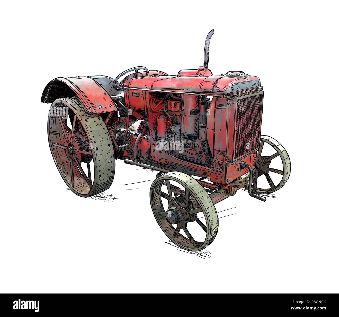 Cartoon or Comic Style Illustration of Old or Vintage Red Tractor - Stock Image