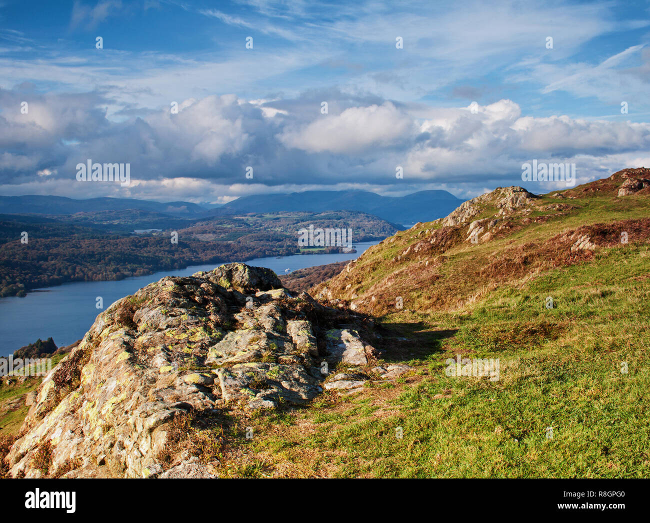 Looking across Lake Windermers from the rocky slopes of Gummers How - Stock Image