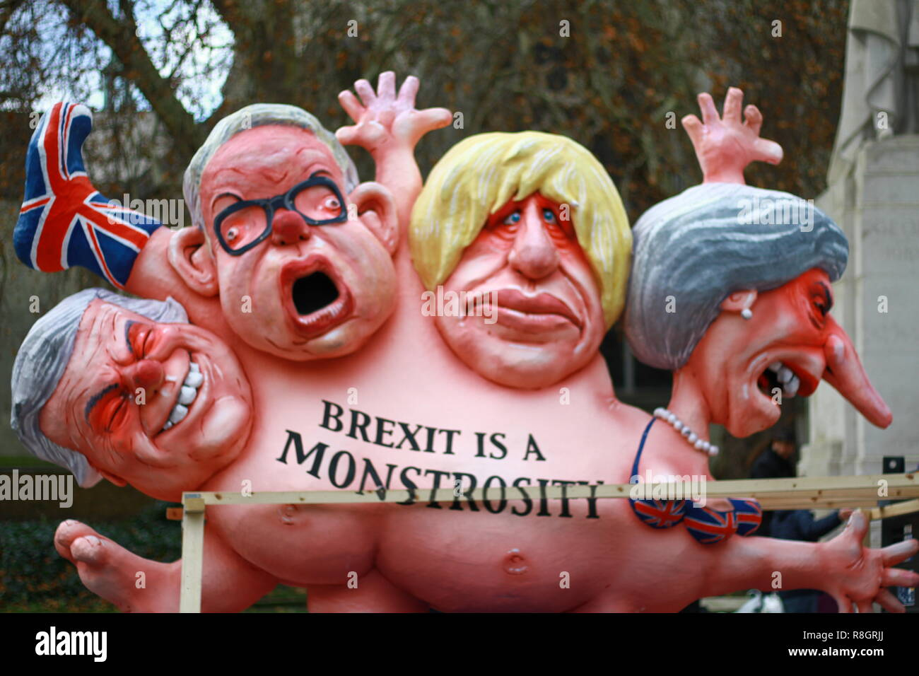 Models of politicians displayed at cancel Brexit protest. Stop Brexit creativity. Pro Eu. European Union. Remain. British politics. UK politics. Stock Photo
