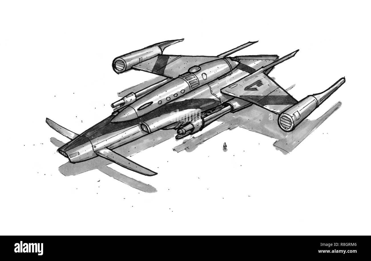 Ink Concept Art Drawing of Futuristic Spaceship or spacecraft - Stock Image