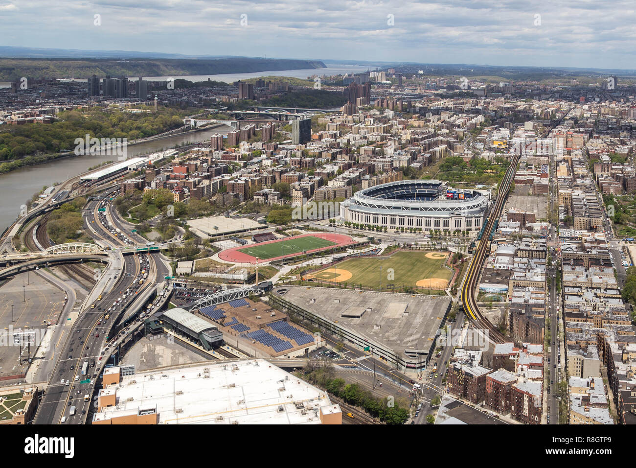 Arial view of Yankee Stadium and The Bronx - Stock Image