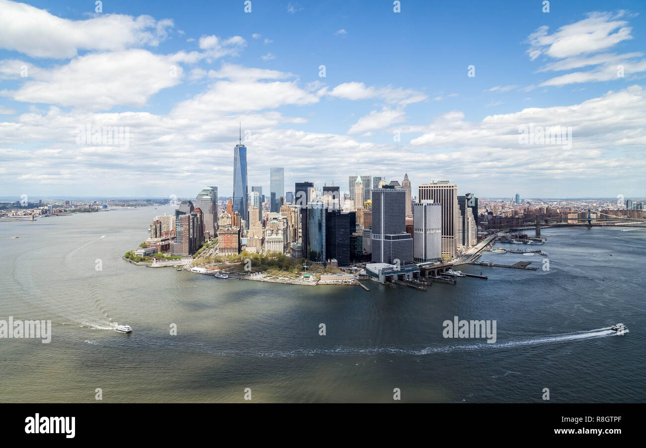 Arial view of downtown Manhattan, New York - Stock Image