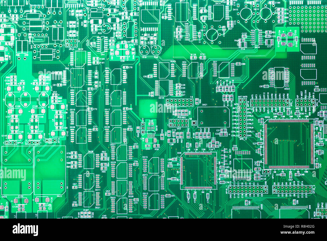 Circuit board. Electronic computer hardware technology. Motherboard digital chip. Tech science background. Integrated communication processor. Informa - Stock Image