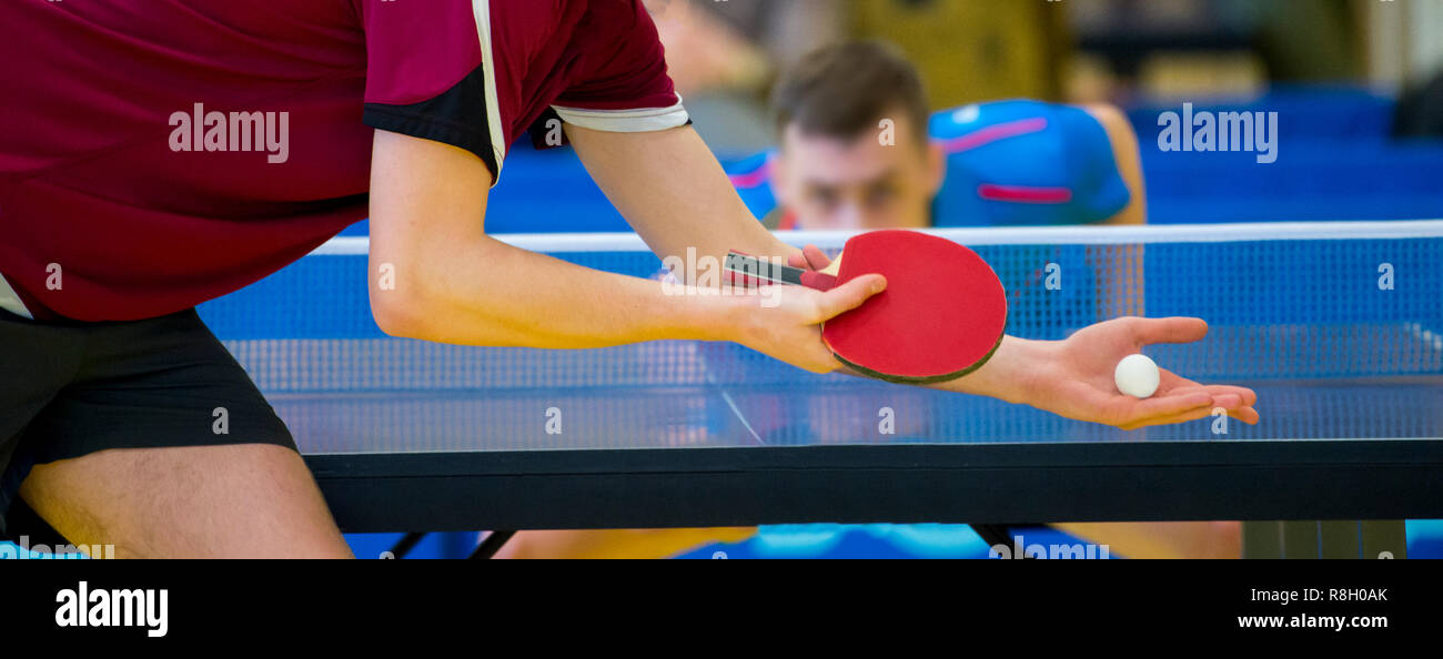 close up service on table tennis - Stock Image