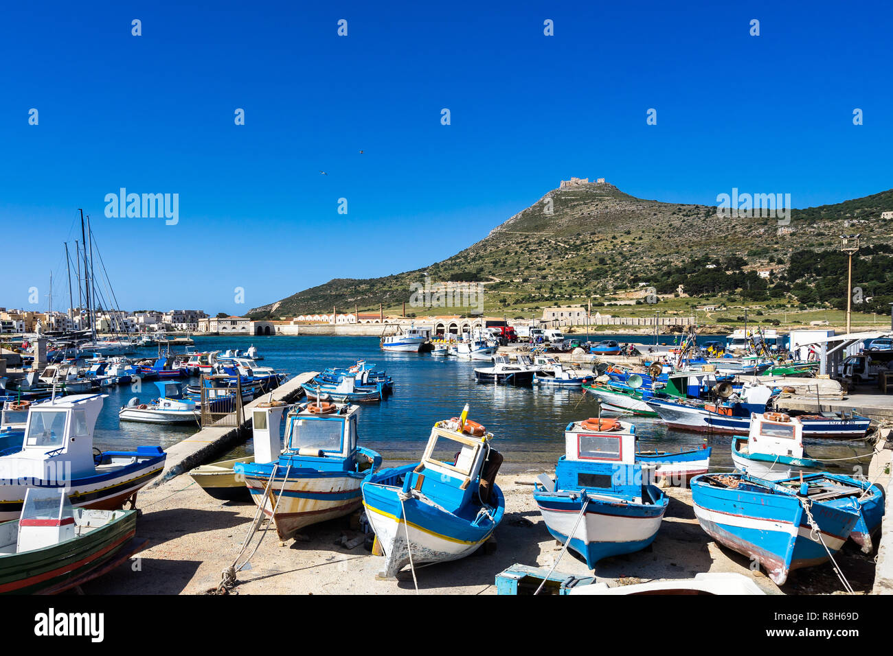 View of Favignana harbor full of traditional fishing boats with Forte Santa Caterina in the background, Aegadian Islands, Sicily, Italy Stock Photo
