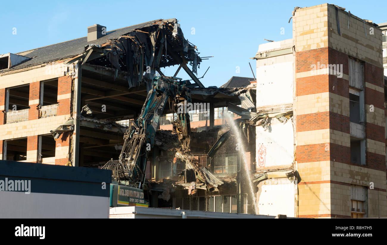 Ex BT building Bridge Court being demolished on Newcastle quayside, north east England, UK - Stock Image